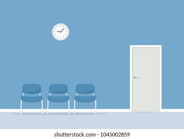 Waiting room with chairs. Vector simple image