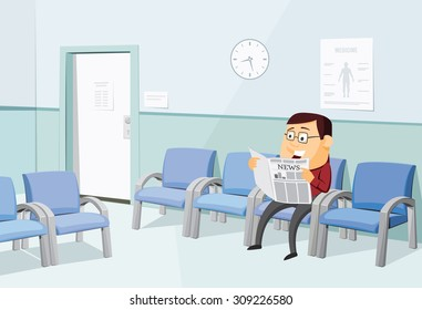 Waiting room at the doctor. Funny man waiting for examination and reading a newspaper. Private medical practice. Simple vector illustration.