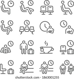 Waiting room icon illustration vector set. Contains such icons as Wait, Clock, Chair, Seat, Chilled, Lounge, and more. Expanded Stroke