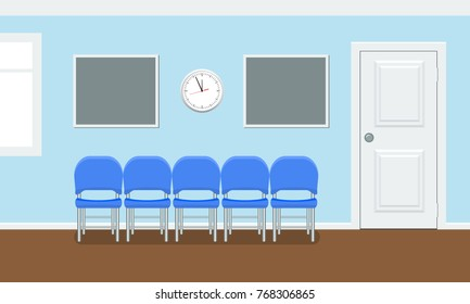 Waiting room for patients in the dental office. Interior building for stomatology concept. Vector illustration in flat style.