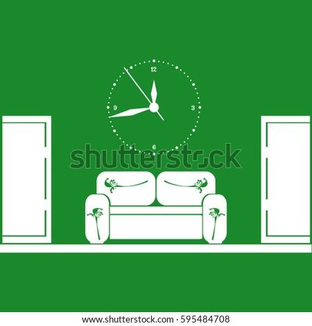 Amazing Waiting Room Sofa Front Door Clock Stock Vector Royalty Cjindustries Chair Design For Home Cjindustriesco