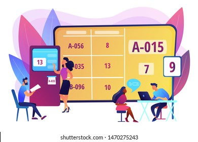 Waiting room with ticket system. Customer management method. Electronic queuing system, electronic queue management, take your ticket concept. Bright vibrant violet vector isolated illustration