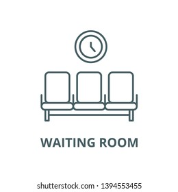 Waiting room vector line icon, linear concept, outline sign, symbol