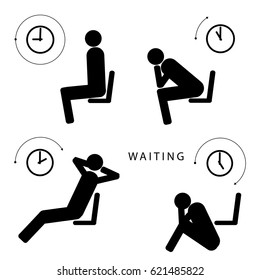 Waiting for something vector stick figure infographics. A man is sitting on a chair, near the chair holding his head in hands, a person is leaning back in his chair. Wall clock, time icon