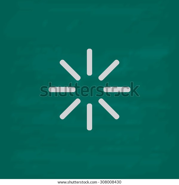 Waiting, Streaming, Buffering, Play, Go. please wait.... Icon. Imitation draw with white chalk on green chalkboard. Flat Pictogram and School board background. Vector illustration symbol