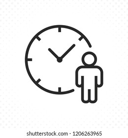 Waiting time icon. Human with clock symbol in linear style. Time symbol, Clock and human vector icon