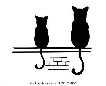 waiting two cats for someone on a wall creative vector art design
