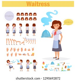 Waitress for animation. Poses front, rear, side, three quarter. Creation set. Collection of emotions. Vector. Cartoon. Isolated art on white background. Flat Different positions of hands