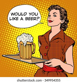 The waitress beer on a tray pop art retro style. Beer festival or a restaurant. Alcoholic beverages. Would you like a beer
