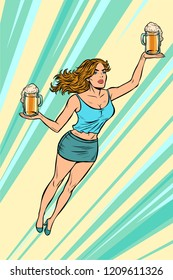 waitress carries beer flying superhero help. Pop art retro vector illustration vintage kitsch