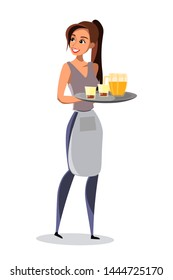 Waitress carrying tray in pub vector illustration. Employee in uniform. German restaurant, bar staff. Woman bringing order for customer. Octoberfest waitress. Beer, alcoholic beverage in bottle