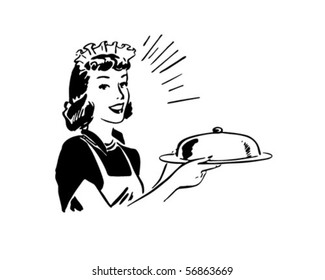 Waitress With Covered Server - Retro Clip Art