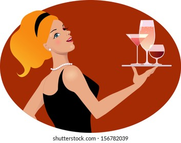 Waitress with drinks. Vintage inspired portrait of a young sexy woman holding a tray with various alcoholic drinks, vector illustration, no transparencies