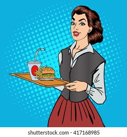 Waitress with Fast Food. Woman Holding a Tray with Burger and Fries. Pop Art. Vector illustration