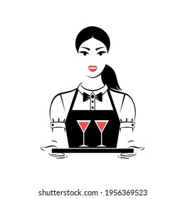 Waitress holding two glasses of wine. Userpic. Portrait isolated on white background. Vector illustration