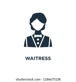 Waitress icon. Black filled vector illustration. Waitress symbol on white background. Can be used in web and mobile.