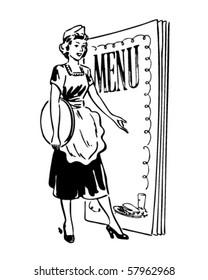 Waitress With Menu Behind - Retro Clip Art