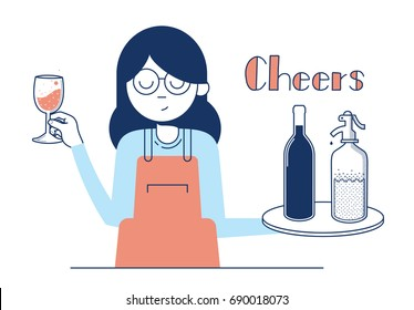 Waitress offers wine with soda to drink, in a bar, vector illustration. Minimal design drinking.
