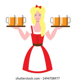 Waitress at Oktoberfest Beer Festival. Girl with beer mugs on trays. Smiling blonde in traditional German dress at the autumn beer festival. Cheerful girl on a white background