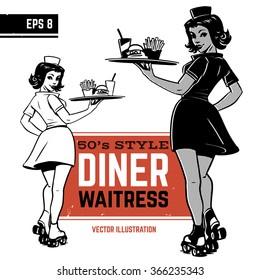 waitress on roller skates. drive-in waitress. 50's diner waitress