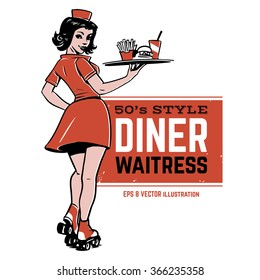 waitress on roller skates. drive-in waitress. 50's diner waitress