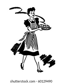 Waitress Serving Food - Retro Clip Art