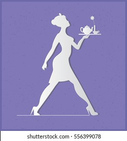 Waitress silhouette on a blue background. Slender girl carrying