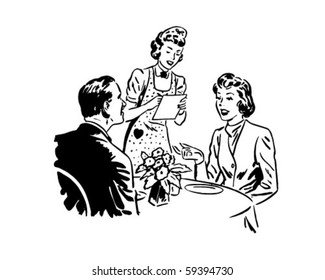 Waitress Taking Order - Retro Clip Art