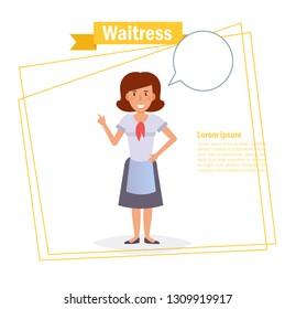 Waitress Vector. Cartoon. Isolated art on white background. Flat