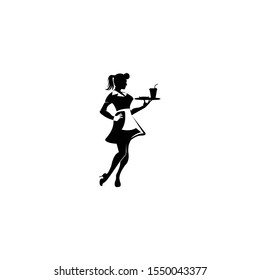Waitress vector icon on white background,Waiters and Waitress Silhouette,Restaurant Service Vector,Meal Servers