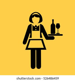 Waitress woman vector icon illustration isolated on yellow background