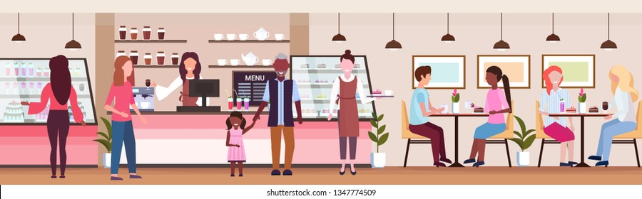 waitresses serving mix race people clients coffee shop workers hospitality service concept modern cafeteria interior flat full length horizontal banner