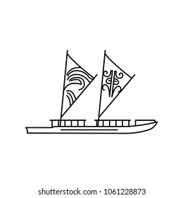 Waka boat icon. Outline waka boat vector icon for web design isolated on white background