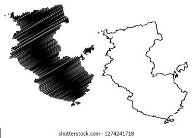 Wakayama Prefecture (Administrative divisions of Japan, Prefectures of Japan) map vector illustration, scribble sketch Wakayama map