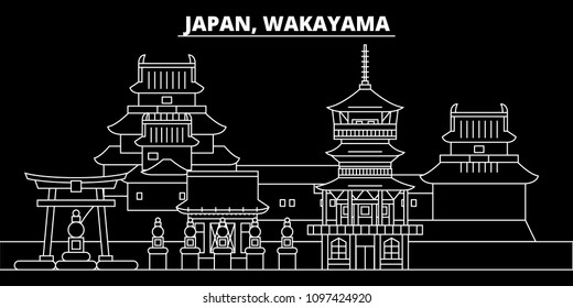 Wakayama silhouette skyline. Japan - Wakayama vector city, japanese linear architecture, buildings. Wakayama travel illustration, outline landmarks. Japan flat icon, japanese line design banner