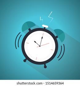 Wake up alarm clock icon, vector illustration. Blue Theme Concept