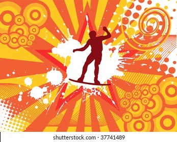 wake boarder on abstract background - vector