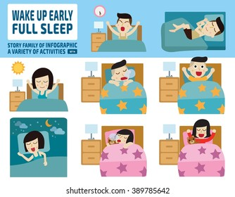 wake up early and full sleep.health care concept.infographic elements.flat cute cartoon design illustration.