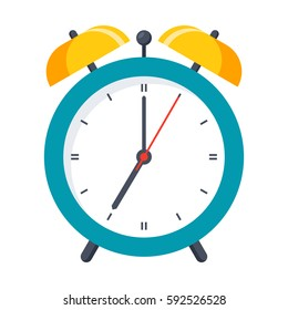 Wake up icon with alarm clock on white background