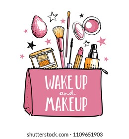 Wake up and make up. Cosmetics beauty elements, black outlines and pastel colors, isolated on white background. Vector hand drawn fashion illustration with cosmetic. Perfect for social media.