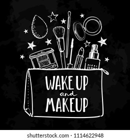 Wake up and make up. Cosmetics beauty elements, white outlines isolated on chalk board background. For poster, card. Vector hand drawn fashion illustration with cosmetic. Perfect for social media.