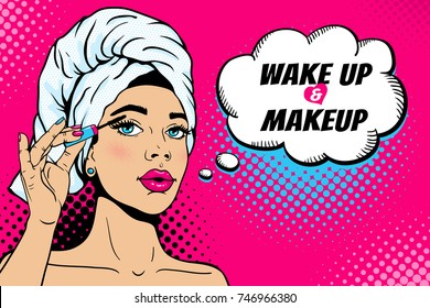 Wake up and makeup. Closeup of sexy girl in bath towel on her head paints her eyes with mascara in her hand. Vector colorful background in comic retro pop art style. Cosmetics applying on female face.