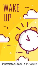 Wake up poster with alarm clock. Thin line flat design. Vector good morning background.
