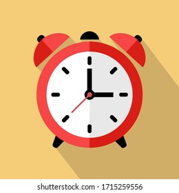 Wake up retro alarm clock. Flat vector Illustration with long shadow.