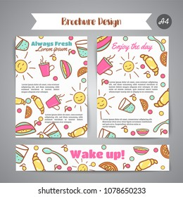 Wake up slogan on brochure. Breakfast menu for cafe illustration. Always fresh text. Cafe, bakery concept. Coffeee and tea time. Vector