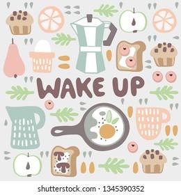 """Wake up"" handwritten lettering. Inscription surround breakfast items food and drink in scandinavian style."