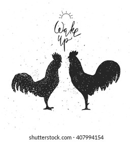 Wake up. Hipster vintage design with roosters. Hand drawn black roosters on white background. Roosters black silhouette.