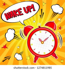 Wake up!! Lettering  cartoon vector illustration with alarm clock on yellow background. Pop art style
