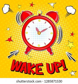 Wake up!! Lettering  cartoon vector illustration with alarm clock on yellow halfone background . Pop art style
