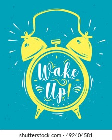 Wake up. Lettering with clock. Modern calligraphy style set. Vector stock ilustration